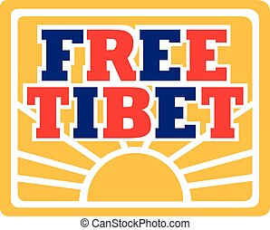 Free Tibet with flag