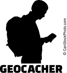 Geocacher with silhouette of man