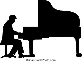 Grand piano player silhouette