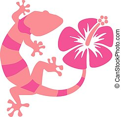 Pink Gecko with hibiscus