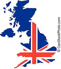United Kingdom map with flag