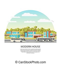 Suburban Houses Concept - Suburban houses concept with...
