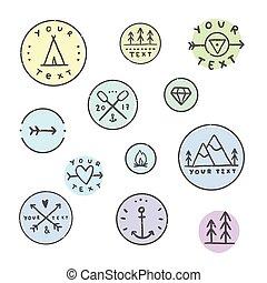Set of hipater badges.