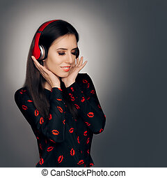 Girl with Red Headphones Listening to a Love Song