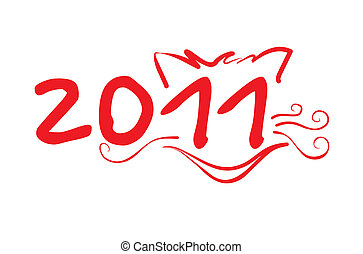 Year of the cat 2011 new year vector