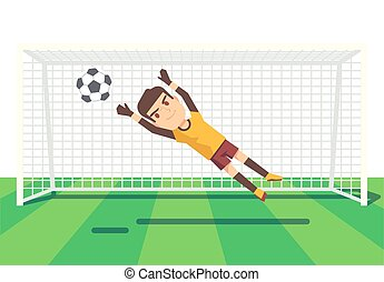 Soccer goalkeeper catching a ball illustration. Man player...