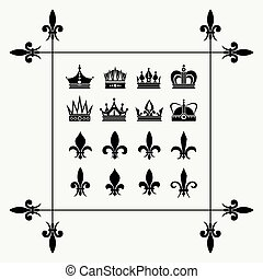 Geraldic crowns and fleur de lys design elements
