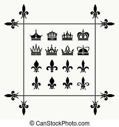 Geraldic crowns and fleur de lys design elements. Art royal...