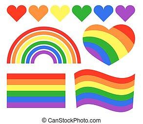 Vector gay LGBT rainbow symbols. Homosexual pride banner...