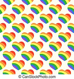 Gay LGBT seamless pattern with rainbow hearts isolated on...