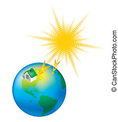 heat earth climate sun globe vector weather