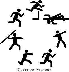Heptathlete pictograms in a circle
