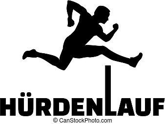 Hurdling silhouette with german word
