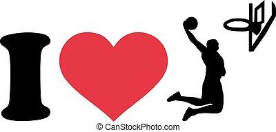 i Love heart Basketball Player