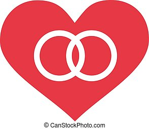 Heart with wedding rings icon