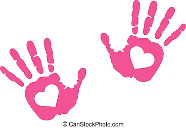 Hand prints with heart in it