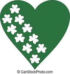 Stamped clovers in green hart