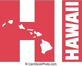 Hawaii with state abbreviations HI and map