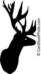 Deer head with antler