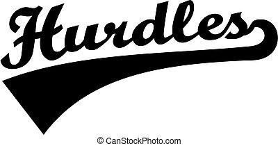 Hurdles retro word