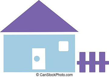 Cute house icon with garden fence