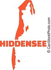Hiddensee map silhouette with name