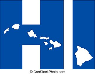 Hawaii state abbreviations HI with map