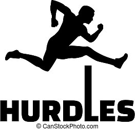 Hurdles with man silhouette