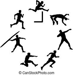 Heptathlete silhouette in a circle