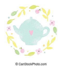 Cute teapot in a floral laurel.