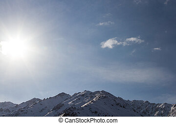 Sun in the mountains of Kazakhstan