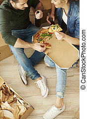 Directly above shot of eating couple
