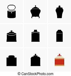 Tea caddies - Set of tea caddies, shade pictures
