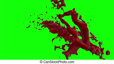 Blood Burst Slow Motion (Green Screen) 166 - Nice and real...