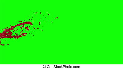 Blood Burst Slow Motion (Green Screen) 84 - Nice and real 4K...