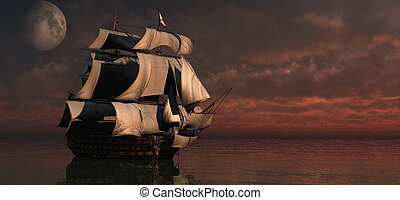 Ship at sunset with moon - 3D render of a ship at sea in a...