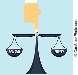 Balance of supply and demand scale with invisible hand of...