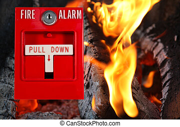 fire alarm with fire background - fire alarm pull station...
