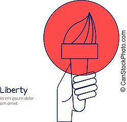 Liberty and freedom conceptual illustration. Hand with torch...