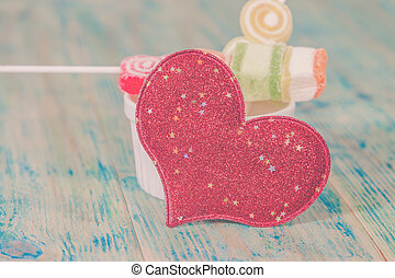 Valentines Day candy in glass jar