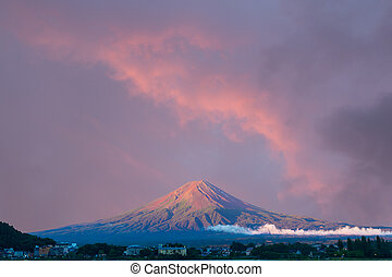 Mt Fuji Morning Wide Sunrise Sky Hotels - Beautiful red...