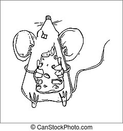 Cute Doodle Mouse vector illustration