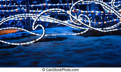 Christmas colorful lights. Festive illuminations - Christmas...