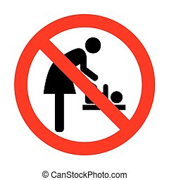 No Symbol for women and baby, baby changing.