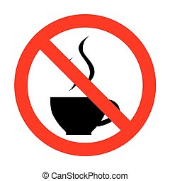 No Cup of coffee sign.