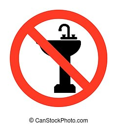 No Bathroom sink sign.