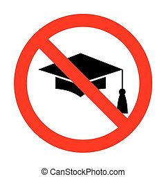 No Mortar Board or Graduation Cap, Education symbol.