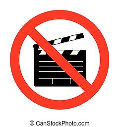 No Film clap board cinema sign.