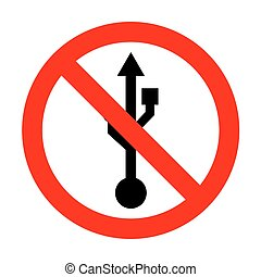 No USB sign illustration.