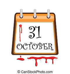 Halloween Bloody Calendar Date - Halloween celebration...